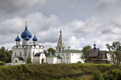 View of the Cathedral of the Nativity of the Virgin,  bell tower and St. Nicholas church in the Suzdal Kremlin. Suzdal, Golden Rin Royalty Free Stock Photos