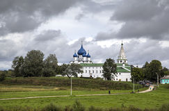 View of the Cathedral of the Nativity of the Virgin and bell tower in the Suzdal Kremlin. Suzdal, Golden Rin Stock Image