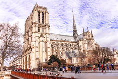 View of cathedral of Notre Dame de Paris. Royalty Free Stock Image