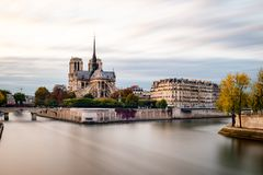 View of the Cathedral Notre dame at evening, Paris, France. stock image
