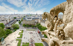 View from Cathedral Notre-Dame with gargoyles on the foreground Royalty Free Stock Image