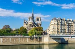 View of the cathedral of Notre Dame and the river Seine royalty free stock photo