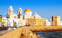 View of  Cathedral and  ocean coast. Cadiz Stock Image