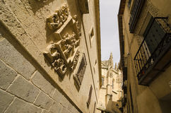 Near the cathedral. View of the cathedral from the old city. Segovia, Spain Stock Photos