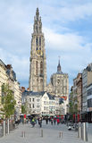 View of the Cathedral of Our Lady in Antwerp, Belgium Royalty Free Stock Photography