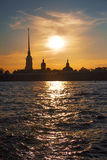View of the Cathedral of Peter and Paul Fortress at sunset. Saint Petersburg. Russia Royalty Free Stock Photo