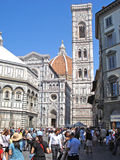 A view of the Cathedral on the Piazza del Duomo in Florence in Italy. Royalty Free Stock Photography