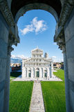 View of cathedral in Pisa looking out from Basilica Stock Photos