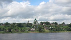 A view of the Cathedral of the resurrection of Christ on the right bank of the Volga river, cloud day in July. Tutaev Romanov-Bor. Isoglebsk. Russia stock video footage