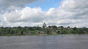 A view of the Cathedral of the resurrection of Christ on the right bank of the Volga river, cloud day in July. Tutaev Romanov-Bor stock video footage