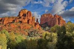View of Cathedral Rock Sedona Arizona. Stunning views of Cathedral Rock from Red Rock Crossing. Without a doubt one of the most famous of Sedonas many landmarks Stock Image