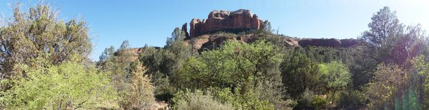 Arizona, Sedona, A view of Cathedral Rock and the surrounding desert landscape stock image