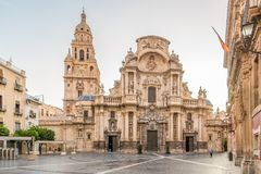 View at the Cathedral Saint Mary of Murcia in Spain. Stock Photo