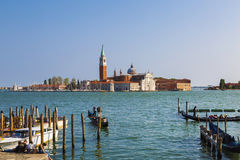 A view of the Cathedral of San Giorgio Maggiore from San Marco square, Venice Royalty Free Stock Photography