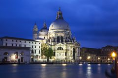 A view of the Cathedral Santa Maria della Salute in Venice at night Royalty Free Stock Photos