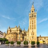 View at the Cathedral of Sevilla with Giralda - Spain. View at the Cathedral of Sevilla with Giralda in Spain stock photos