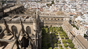 View of the Cathedral of Seville. The capital and largest city of the autonomous community of Andalusia, Spain Royalty Free Stock Photography