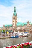 View of the cathedral and square in Hamburg close up. Royalty Free Stock Images