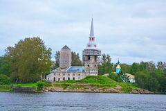 View of Cathedral Square from motorship in Shlisselburg, Russia Royalty Free Stock Images