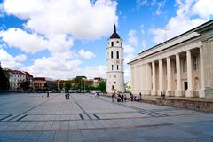 View of a Cathedral square of Vilnius old town Royalty Free Stock Photo