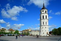 View of a Cathedral square of Vilnius old town Royalty Free Stock Images