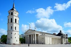 View of a Cathedral square of Vilnius old town Royalty Free Stock Photography