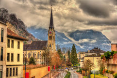 View of Cathedral of St. Florin in Vaduz Stock Photos
