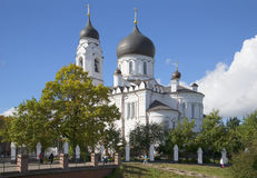 View of the Cathedral of St. Michael the Archangel sunny september day. Lomonosov Royalty Free Stock Image