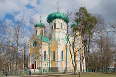 View of the Cathedral of St. Paul, sunny april day. Gatchina Stock Photos