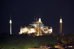 View of the Cathedral of St. Sophia Aya Sofia at night, Istanbul Stock Photo