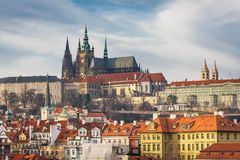 View of the Cathedral of St. Vitus in Prague Stock Photo