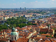 View from the Cathedral of St. Vitus on the south-east - the Vlt. The view from the bell tower of the Cathedral of St. Vitus on the south-east - Vltava river Royalty Free Stock Photography