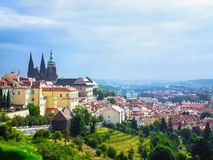 View of the Cathedral of St. Vitus stock photo