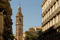 View of Cathedral from street. In Valencia, Spain Royalty Free Stock Images