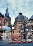 View of cathedral tower, Aachen. Restaurant near the cathedral in Aachen Stock Image