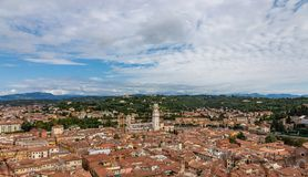 View from the Cathedral of Verona Column on the old town in aerial view, Italy stock photography