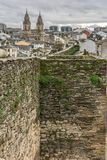 View of the Cathedral and the Wall of Lugo declared World Heritage by Unesco Galicia, Spain stock photography