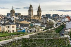 View of the Cathedral and the Wall of Lugo declared World Heritage by Unesco Galicia, Spain royalty free stock images