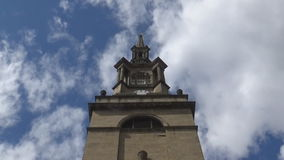 24s clock tower. A view on the cathedrals tower with the clock stock video
