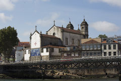 View of the Catholic Cathedral in Porto. View of the Catholic Cathedral with the River Douro in Porto Royalty Free Stock Photo