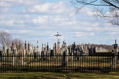 A view on a catholic cemetery stock photos