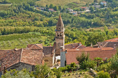 View at the catholic church tower in Motovun Stock Photo
