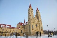 Catolic church in Karaganda, Kazakhstan. View at Catolic cathedral church in Karaganda Kazakhstan during winter day royalty free stock images