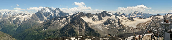 View of the Caucasus Mountains. Panorama Caucasus Mountains from the slope of Elbrus royalty free stock images
