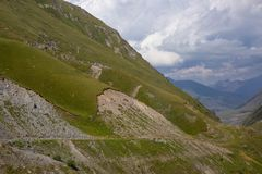 View of Caucasus mountains along  Georgian Military Road. Republic of Georgia royalty free stock photography