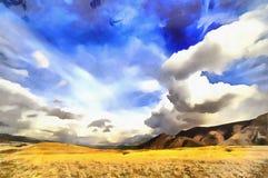 View of Caucasus mountains colorful painting. Armenia stock photos