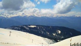 Caucasus. View of the Caucasus Mountains, ski trails Rosa Khutor Alpine resort royalty free stock image