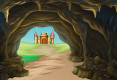 View of cave and castle. Illustration Stock Photo