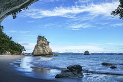 View from the cave at cathedral cove,coromandel,new zealand 43. View from the cave at cathedral cove beach,coromandel,new zealand Stock Photography