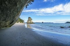 View from the cave at cathedral cove,coromandel,new zealand 35. View from the cave at cathedral cove beach,coromandel,new zealand Royalty Free Stock Photo